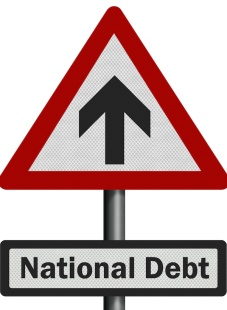 Political issue: 'national debt' concept. Photo realistic sign, isolated